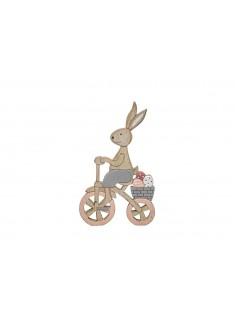Conejo de Pascua de madera en bicicleta 12 cm