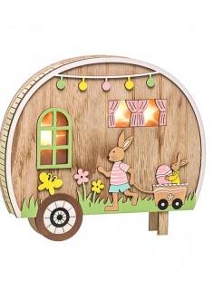 Carromato de madera con luz con conejo con carro 19 cm