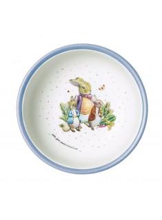 Bowl Peter Rabbit con 2 amigos confeti borde azul 14 cm