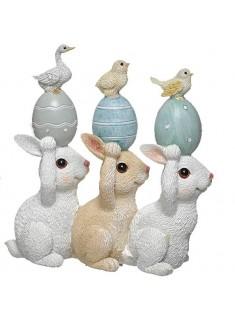 Trio de conejos huevos azules 12 cm