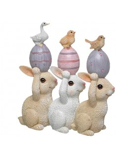 Trío de conejos huevos rosas 12 cm