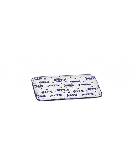 Fuente rectangular peces vichy azul 23 cm