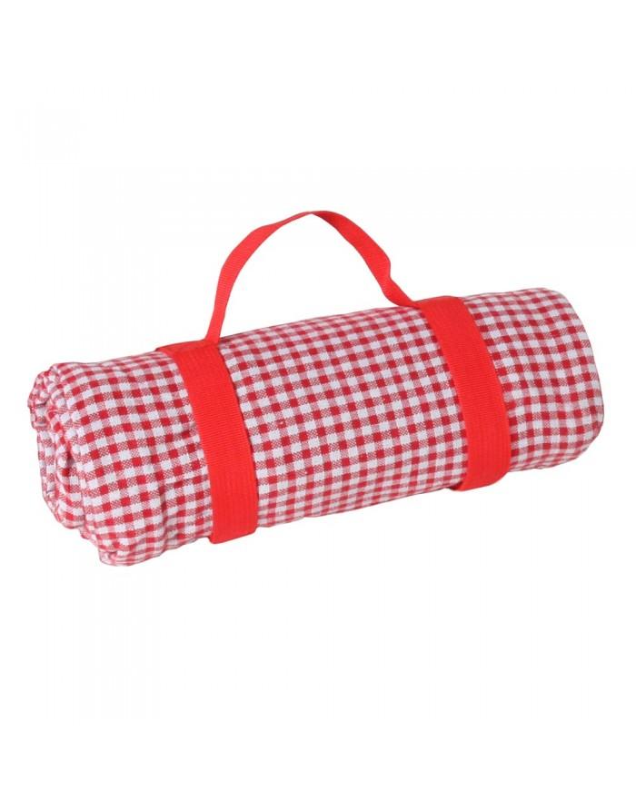 Mantel de picnic impermeable vichy rojo 140x140 cm